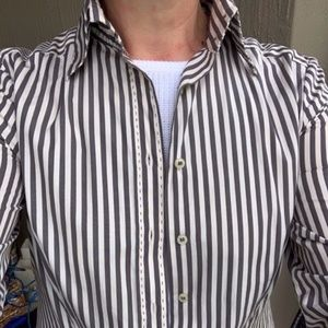 Zara Gray & White Striped Long Sleeve Fitted Shirt Large